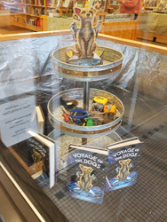 Copperfields Books decorated its window with a Voyage of the Dogs Theme.