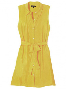 Sleeveless-belted-dress-yellow