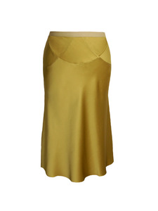 Spark Green Silk Midi Skirt