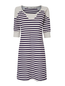 Stripe Dress - Acai Berry