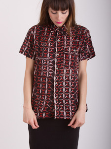High-low Button Down Print Shirt