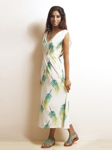 Feather Trim Maxi Dress in Green