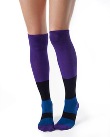 Sophie Organic Cotton Thigh High Color Block Socks
