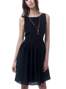 Black Silk Theda A-Line Dress