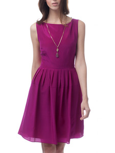 Magenta Silk A-Line Theda Dress