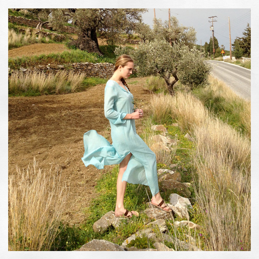 Dasha in aqua green caftan