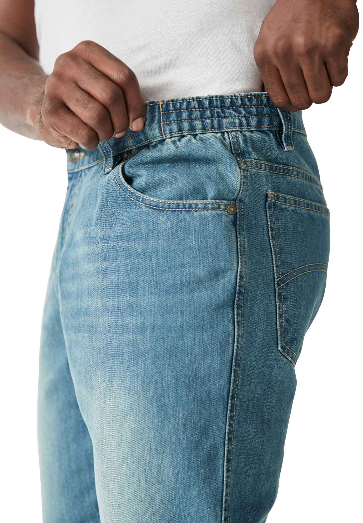 Liberty Blues Men/'s Big /& Tall Athletic Fit Side Elastic 5-Pocket Jeans