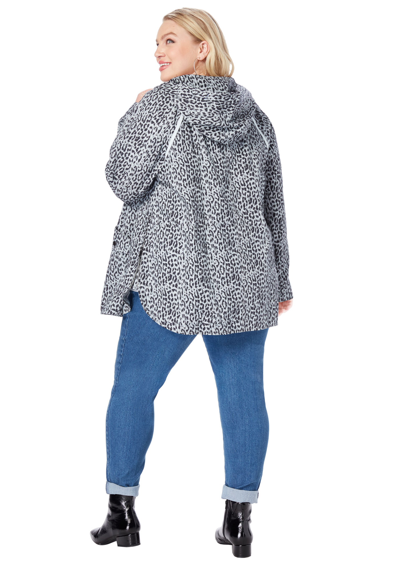 Roaman/'s Women/'s Plus Size Hooded Anorak Jacket