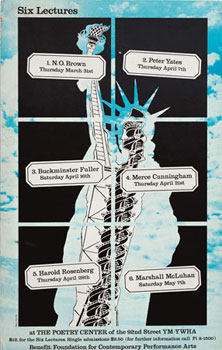 "Promotional poster, ""Six Lectures,"" 1966. Design by Marcus Ratliff."