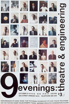 "Promotional poster, ""9 Evenings: Theatre & Engineering,"" 1966. Design by Robert Rauschenberg."