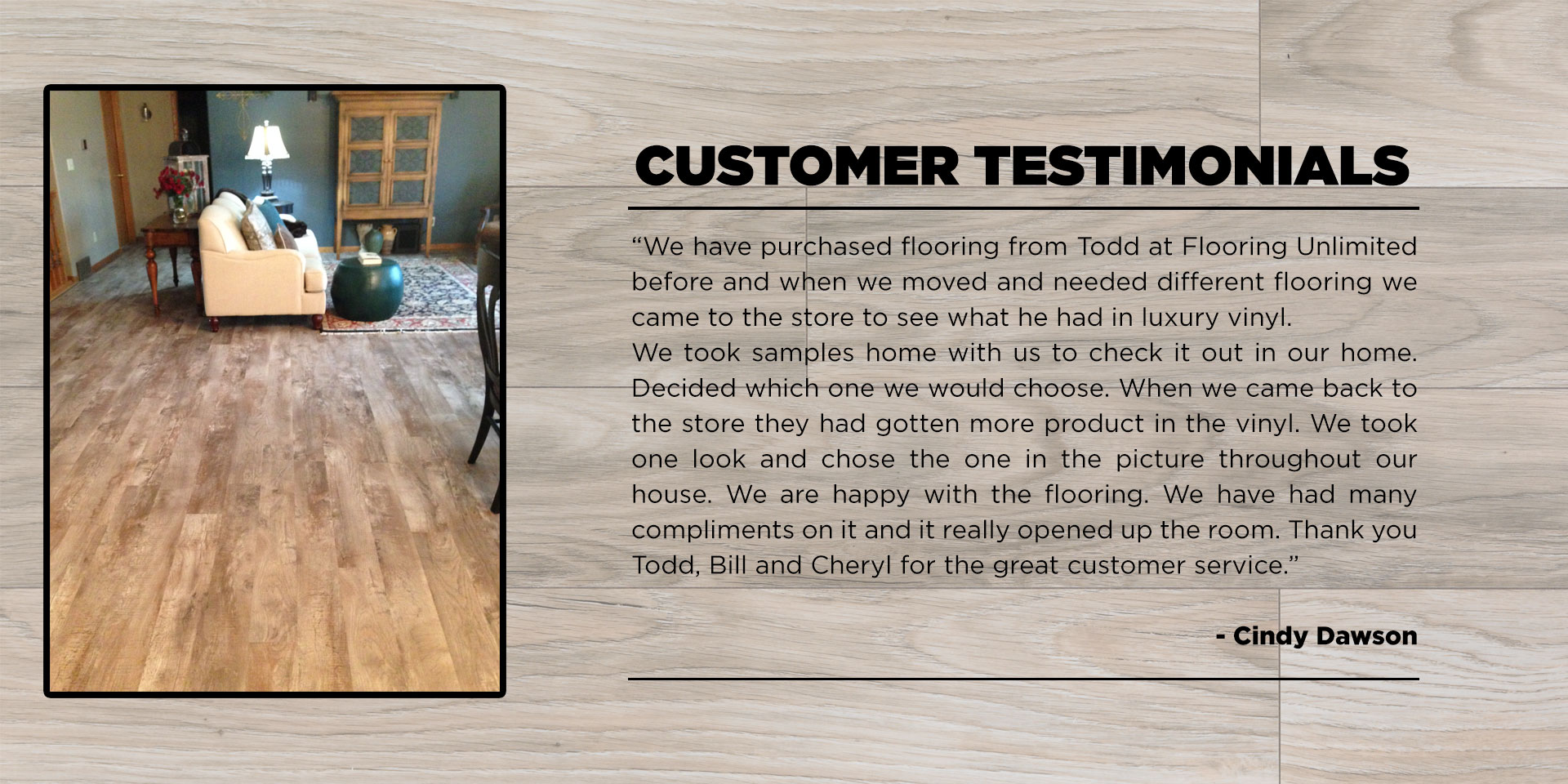 flooring unlimited | customer testimonials