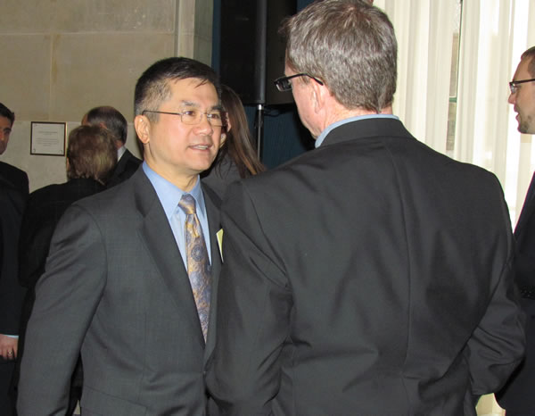 Department of Commerce Secretary Gary Locke chats before an event to release the National Strategy on Trusted Identities in Cyberspace on April 15 at the U.S. Chamber of Commerce