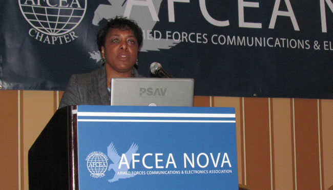 DISA Small Business Office Director Sharon Jones speaks Thursday at the AFCEA Nova Small Business Breakfast at the Sheraton Premiere in Vienna.