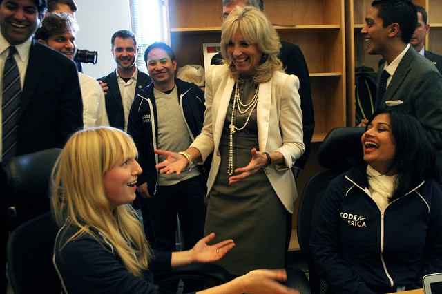 Dr. Jill Biden meets with Code for America Fellows at the organization's San Francisco headquarters. Photo: Code for America