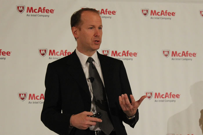 McAfee Co-President Michael DeCesare addresses attendees at the McAfee Public Sector Summit, April 11, 2012. (Photo: David Stegon/FedScoop)