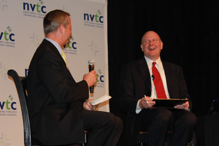 Microsoft CEO Steve Ballmer, right, shares a laugh with Sapient CEO and Northern Virginia Technology Council Chair Brad Antle during an NVTC Titans Breakfast at the Tysons Corner Ritz-Carlton on Thursday. (Photo: David Stegon/FedScoop)