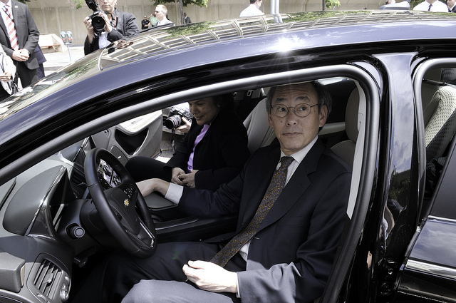 Secretary of Energy Steven Chu tests out a new Chevy Volt purchased by the Department of Energy. (Photo: Charles Watkins)