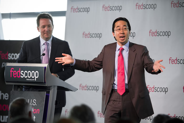 U.S. CTO Todd Park (right) and CIO Steven VanRoekel address attendees at FedScoop's U.S. Innovation Summit on Wednesday.