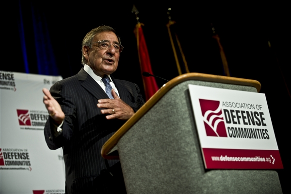 Defense Secretary Leon E. Panetta addresses audience members during the Association of Defense Communities' annual conference in Monterey, Calif., Aug. 6, 2012. DOD photo by U.S. Navy Petty Officer 1st Class Chad J. McNeeley