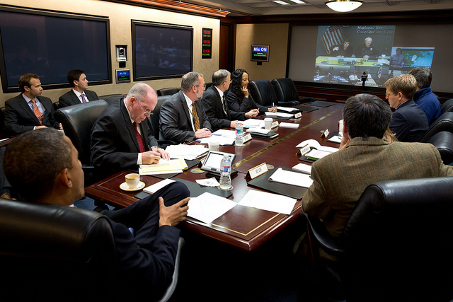 President Barack Obama receives an update on the ongoing response to Hurricane Sandy, in the Situation Room of the White House, Oct. 29 2012. (Photo: White House)