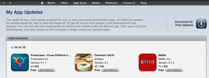 iTunes apps updage