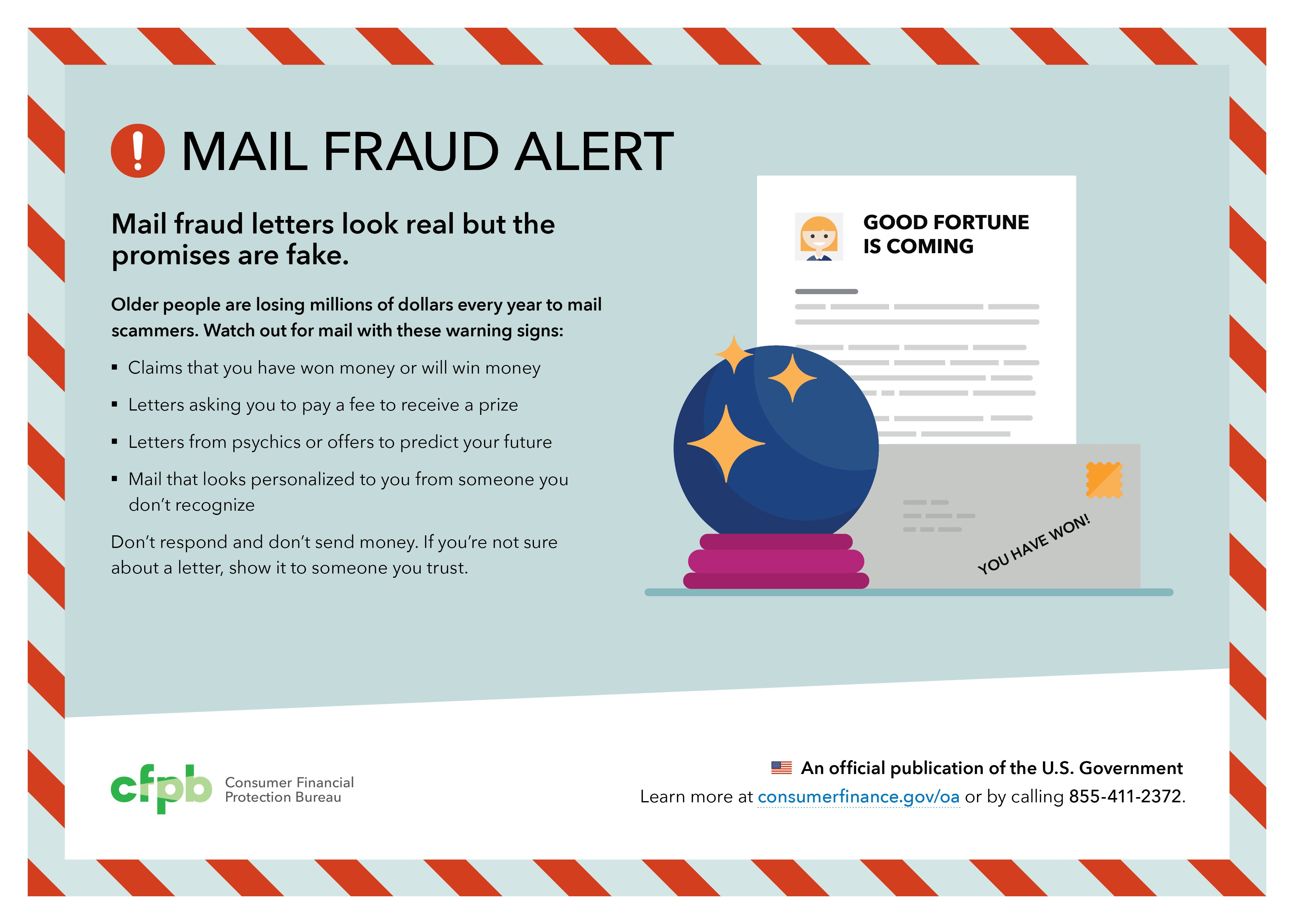 Placemat mail fraud alert