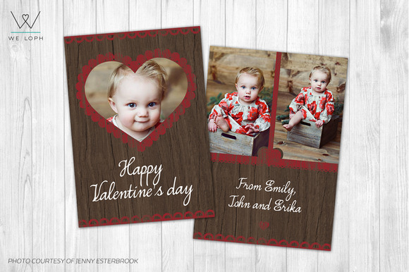 Valentines Day Card Template Wood
