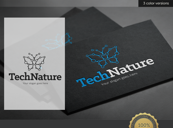 Butterfly Tech Nature Logo
