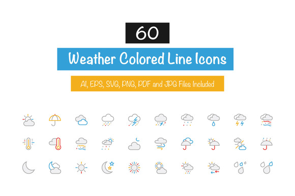 60 Weather Colored Line Icons