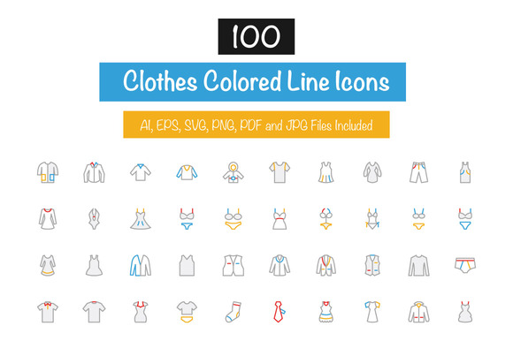 100 Clothes Colored Line Icons