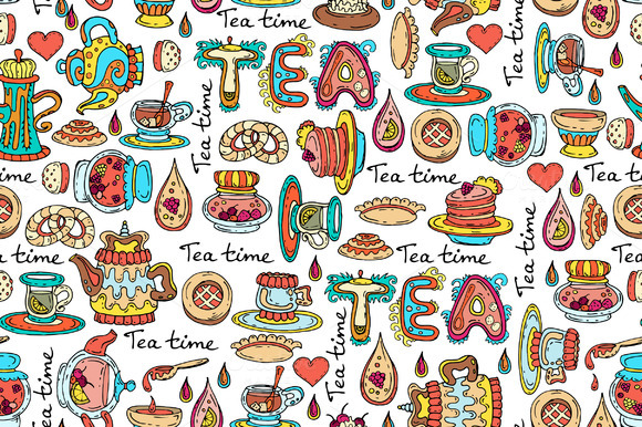 Pattern With Symbols Of Tea Time