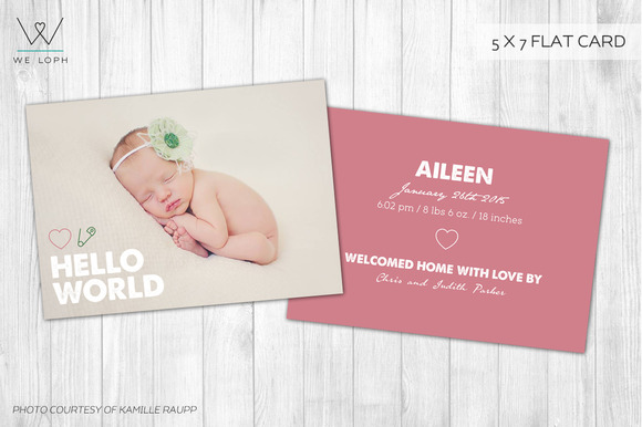 New Born Card Template Hello World