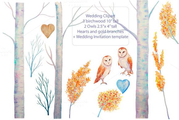 Wedding Watercolor Birchwood Owls
