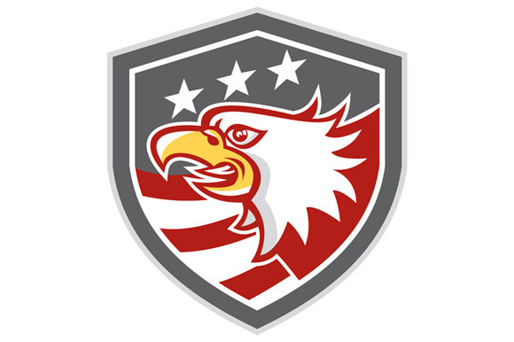 American Bald Eagle Head Flag Shield