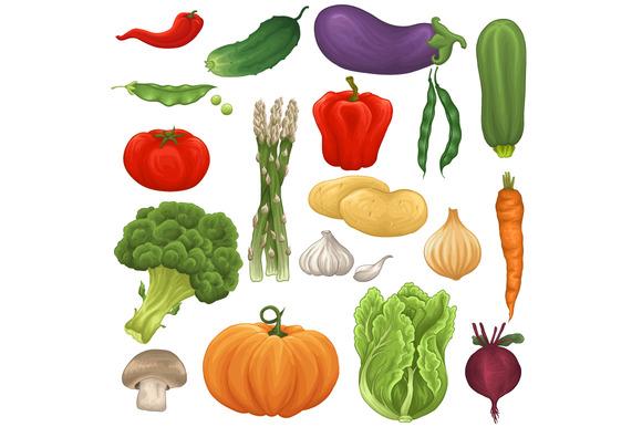 Vegetable Set Patterns Backgrounds