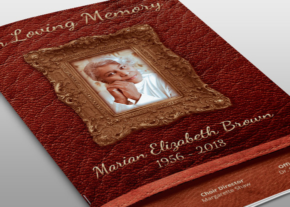 Leather Framed Funeral Program