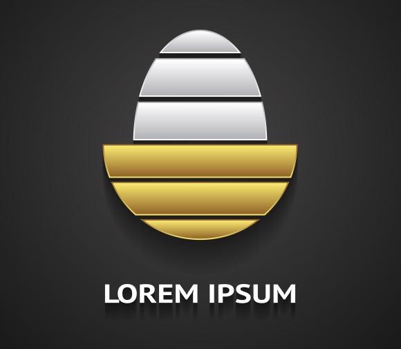 Logo Template In Shape Of Golden Egg