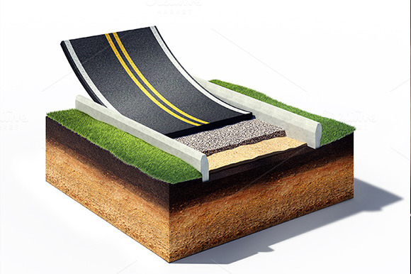 Cross Section Of Asphalt Road Paving