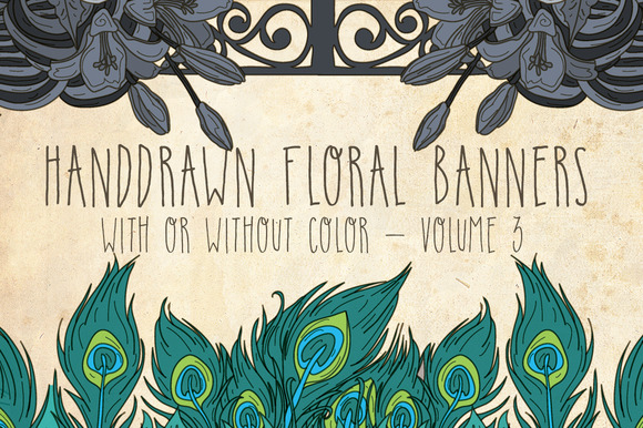 Handdrawn Floral Banners Volume 3