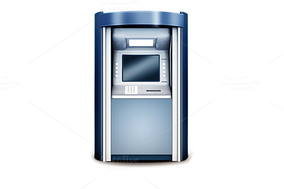 ATM Isolated On White