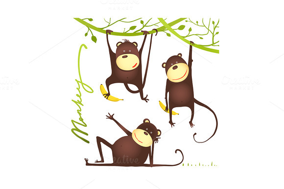 Monkey Fun Cartoon Hanging On Vine