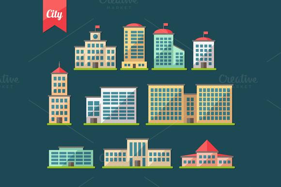 Buildings Flat Design Icons Set 1
