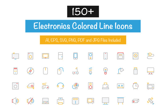 150 Electronics Colored Line Icons