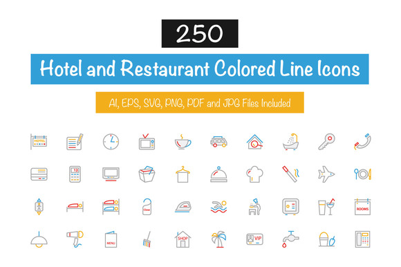 250 Hotel Colored Line Icons