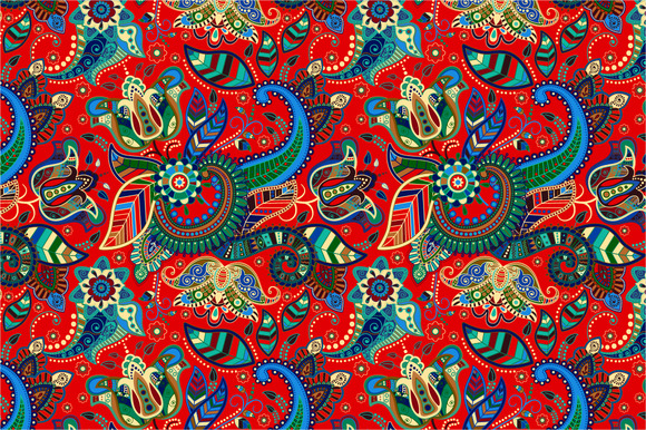 Red Seamless Paisley Pattern