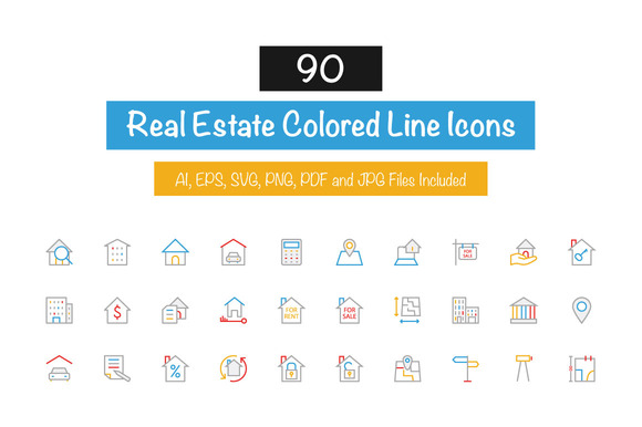 90 Real Estate Colored Line Icons
