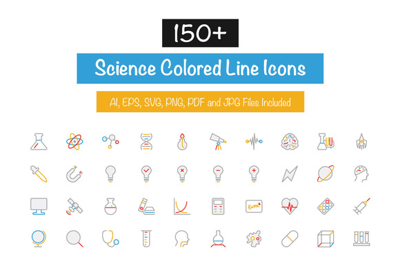 150 Science Colored Line Icons