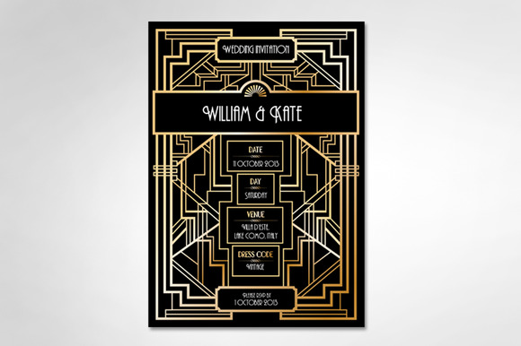 Art Deco Gatsby Wedding Invite