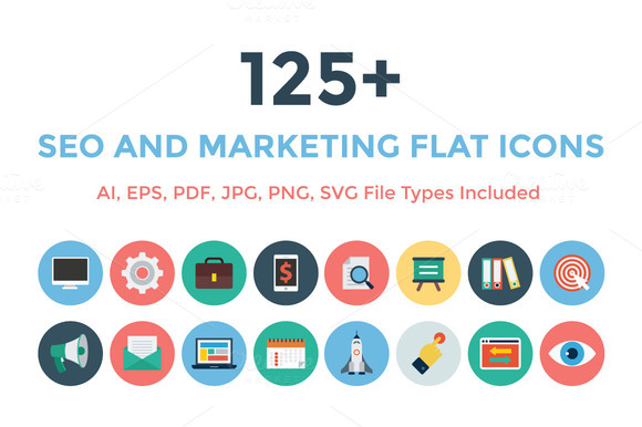 125 Seo And Marketing Flat Icons