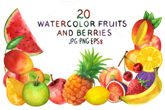 Watercolor Set Fruits And Berries
